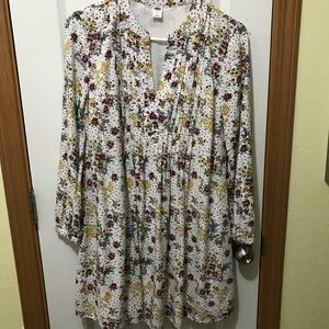 Old navy mini dress long sleeve floral size small